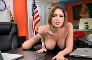 Hot girl reveals her big tits and and nice bootie in office wearing garters