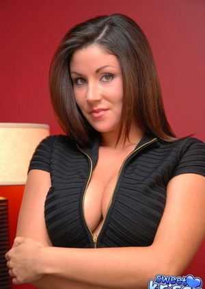 Gorgeous busty secretary Krissy sheds tight dress to pose naked in the office
