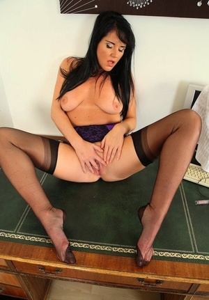 Brunette secretary Raven shows her pink twat in entirely fashioned nylons