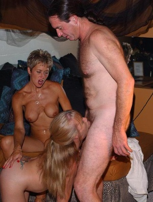 Old swingers take turns sucking off different guy's at the local swing club
