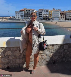 Shameless MILF Nude Chrissy flashes her big knockers and pussy in public
