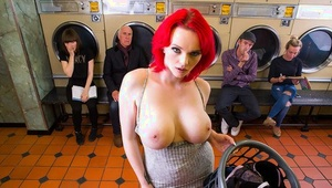 Busty redhead whore Jasmine James getting indeed dirty in public