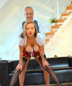 Bitchy schoolgirl in stockings got penetrated by an old man Jim Slip