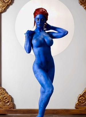 Redhead fetish stunner Nicole Aniston flaunting big naked tits in body paint