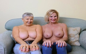 Two old lesbians exposes their enormous boobs and bare asses together