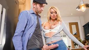 Stunning blonde MILF Amber Jayne jerking and blowing huge dick in kitchen