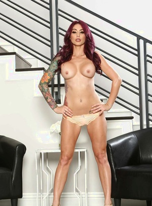 Leggy Mummy Monique Alexander removing denim shorts and panties from nude body
