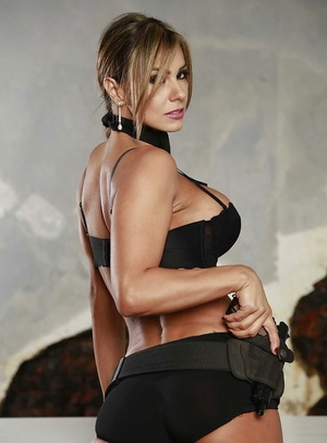 Latina Esperanza Gomez shows off her big melons without police uniform