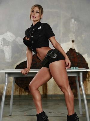 Latina Esperanza Gomez undresses her sexy police uniform on cam
