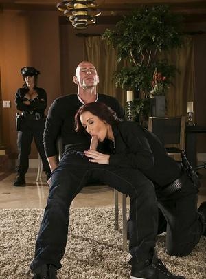 Busty gals in police uniform Jayden Jaymes & Jenna Presley share a hard man sausage