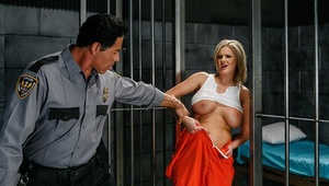 Mature slut with giant tits Zoey Holiday is plumbing in a prison uniform