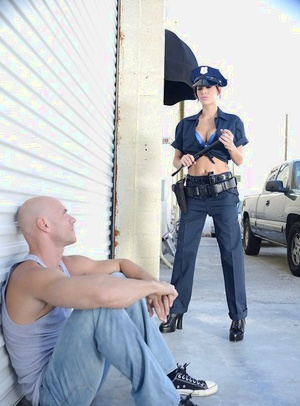 Busty police slut in stockings enjoys anal pounding and gets facialized