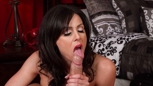 Brunette milf with big tits Kendra Lust spreads sperm on her tits