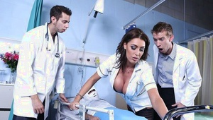 Incredibly luxurious nurse fucks a horny doctor and takes cum on her big tits