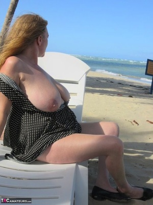 Mature older Lily May flaunts big saggy tits in casual, evening and beach wear
