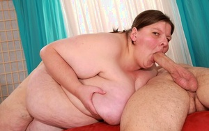 Ugly mature SSBBW Dillon Day fucks doggystyle & gets cum on massive saggy titties