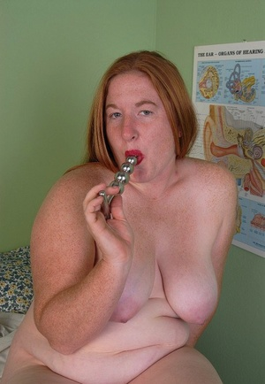 Fatty mature Keno demonstrates her adorable big puffies and hairy hole