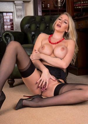 Hot MILF Danielle Maye ditches her skirt prior to masturbating