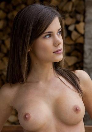 Hot brunette Caprice flashes no panties upskirt outside & masturbates bare